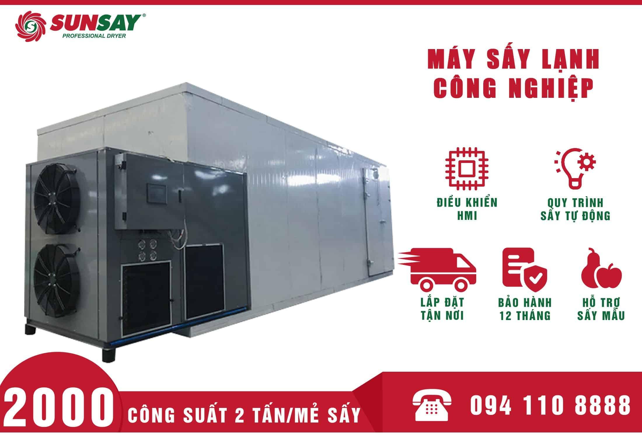 Máy sấy lạnh công nghiệp 2 Tấn SUNSAY